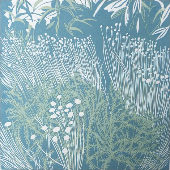 Willow sculpture and stripes - linocut